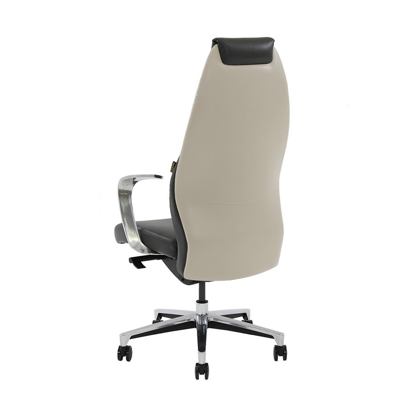 Prector Black/White Leather Desk Chair  alternate image, 3 of 6 images.