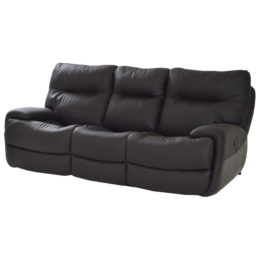 Evian Gray Power Motion Leather Sofa  main image, 1 of 9 images.