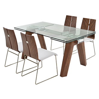Valencia Brown/White 5-Piece Formal Dining Set