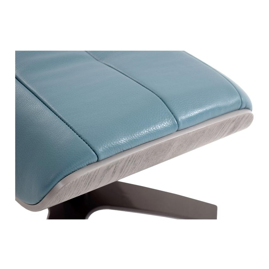 Enzo Blue Leather Ottoman  alternate image, 4 of 5 images.