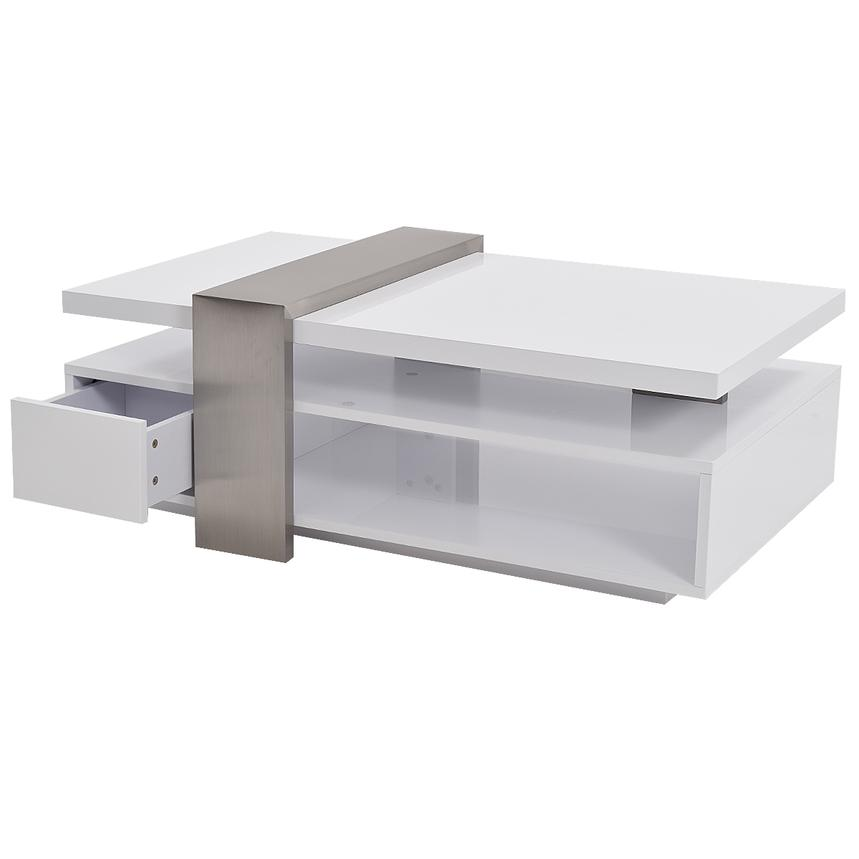 Totem white coffee table w casters el dorado furniture for White coffee table with wheels