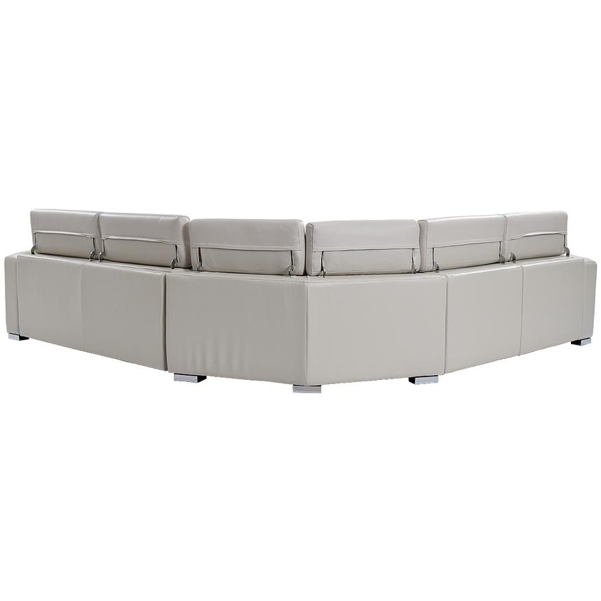 Bay Harbor Light Gray Leather Power Reclining Sectional w/Right Sleeper  alternate image, 3 of 7 images.