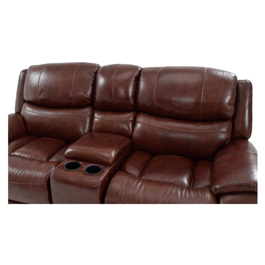 Abilene Recliner Leather Sofa w/Console  alternate image, 4 of 8 images.