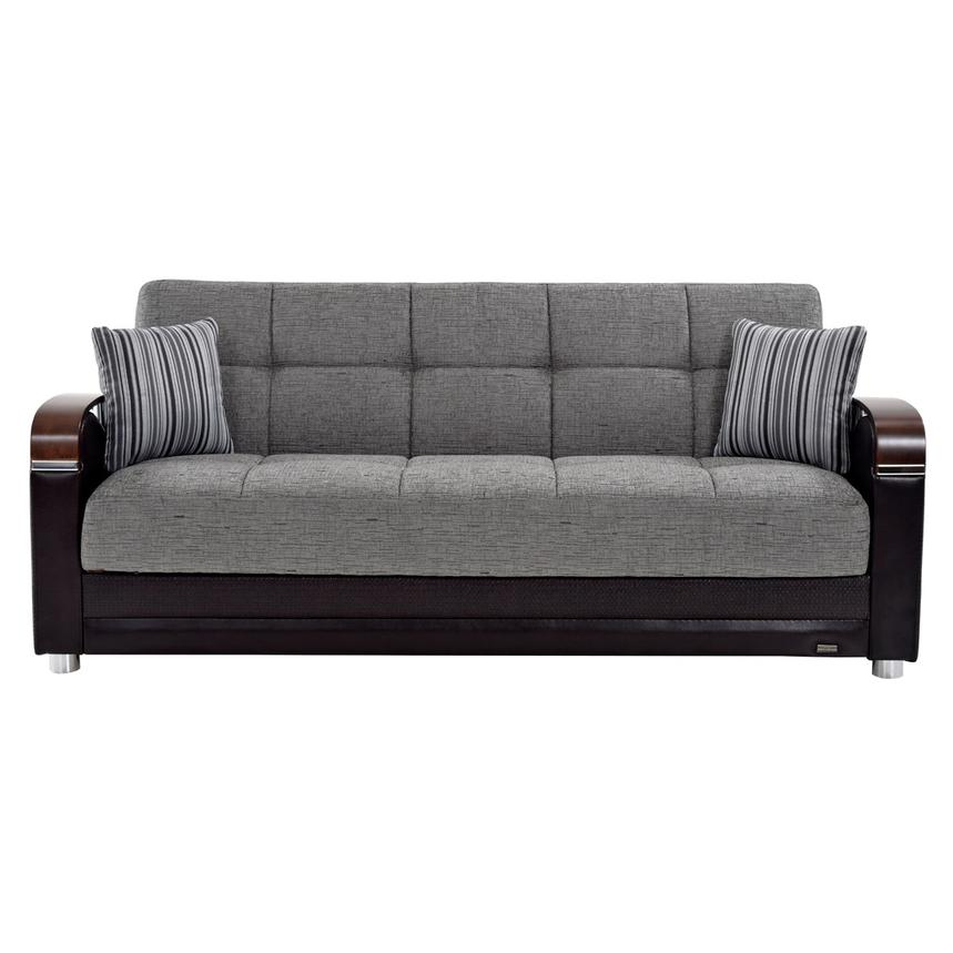 Peron Gray Futon Sofa  alternate image, 4 of 7 images.