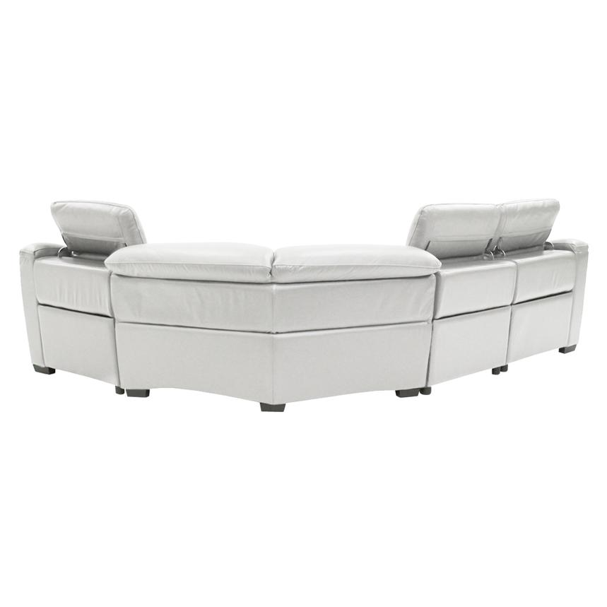 Davis White Leather Power Reclining Sectional  alternate image, 3 of 9 images.