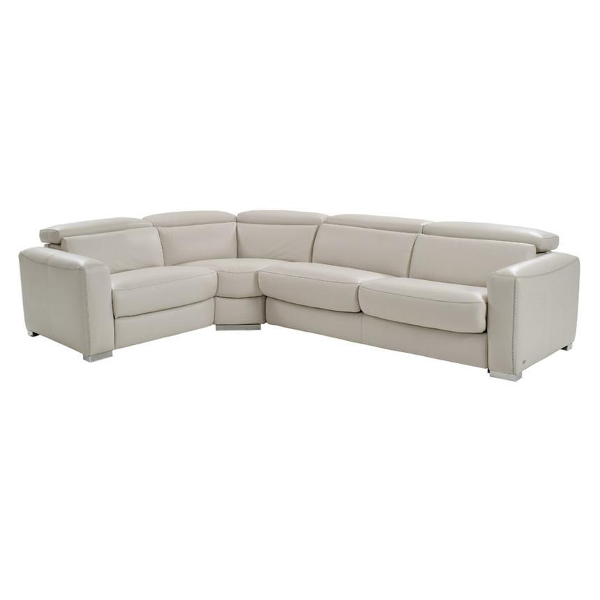 Bay Harbor Light Gray Power Motion Leather Sofa W Right