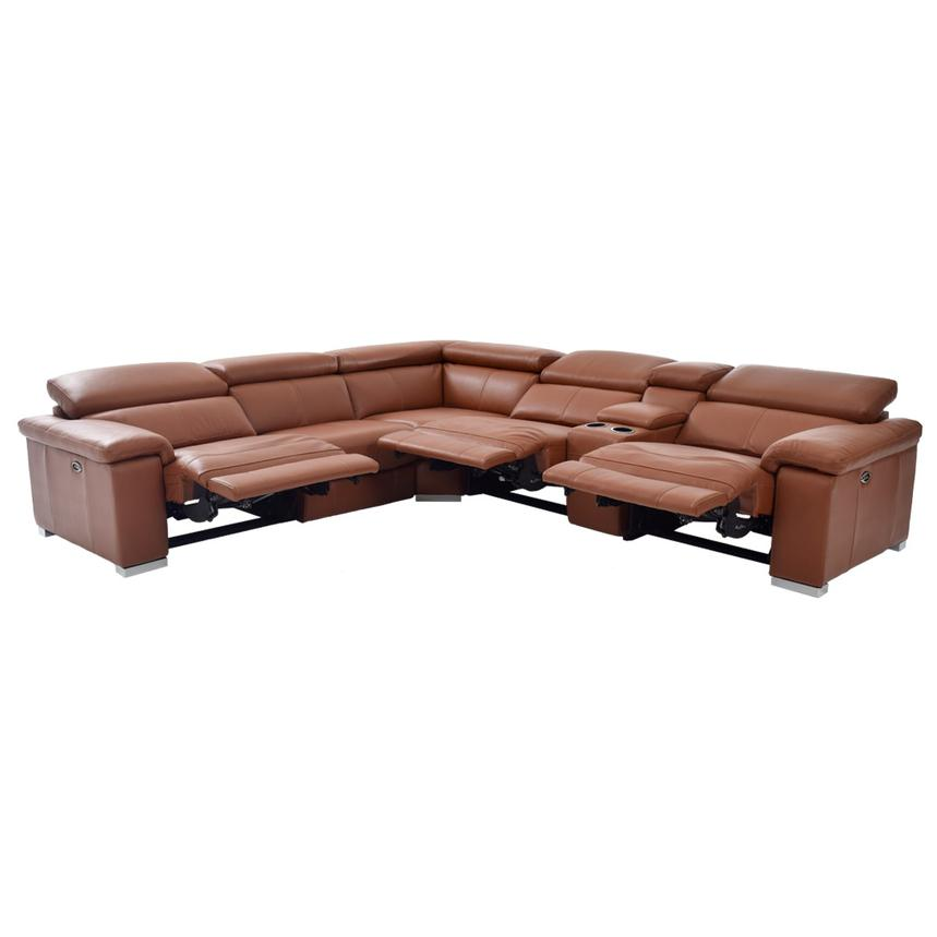 Nathan Tan Power Motion Leather Sofa w/Right & Left Recliners  alternate image, 4 of 8 images.