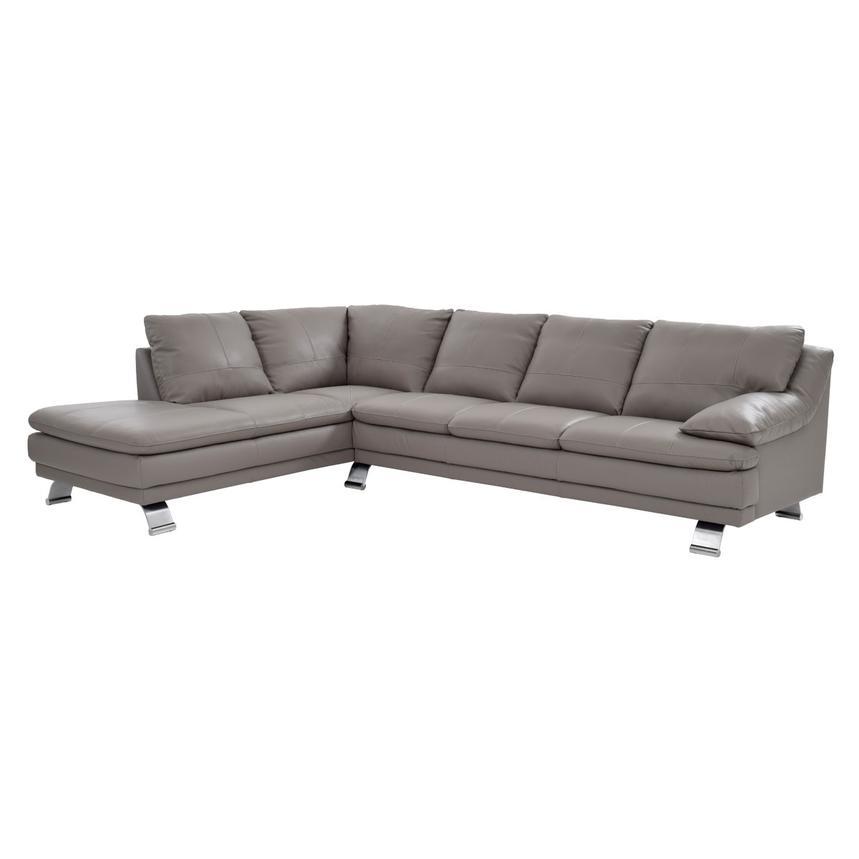Rio Light Gray Leather Corner Sofa W