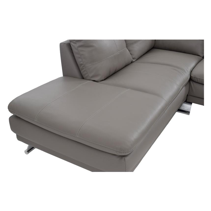 Rio Light Gray Leather Corner Sofa w/Left Chaise  alternate image, 5 of 7 images.