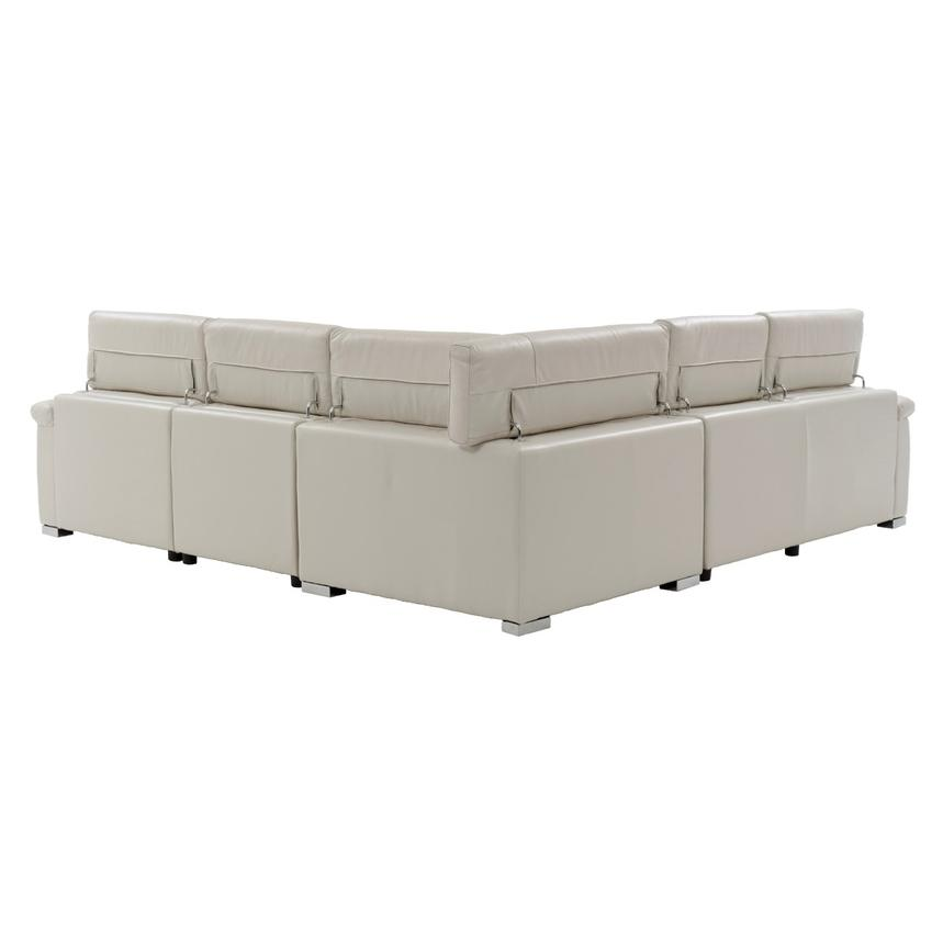 Nathan Cream Power Motion Leather Sofa w/Right & Left Recliners  alternate image, 3 of 10 images.