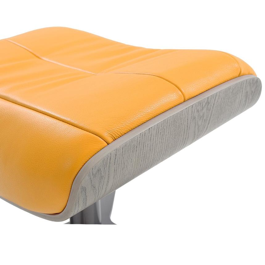 Enzo Yellow Leather Ottoman  alternate image, 3 of 4 images.