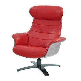 Enzo Red Leather Swivel Chair