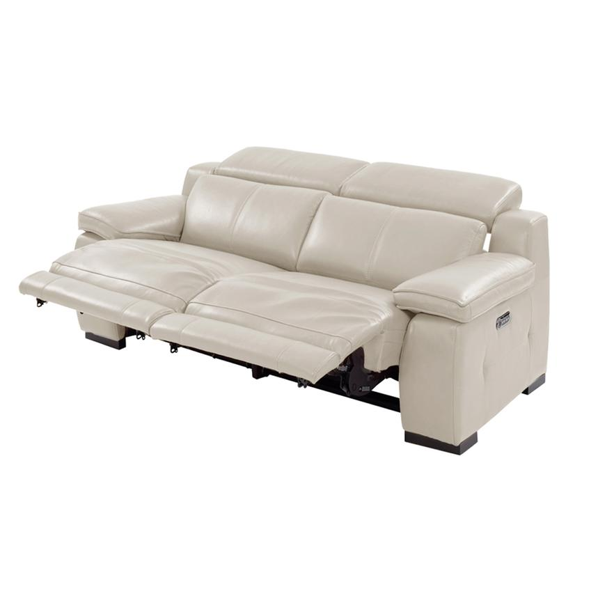 Gian Marco Cream Leather Power Reclining Loveseat  alternate image, 3 of 10 images.