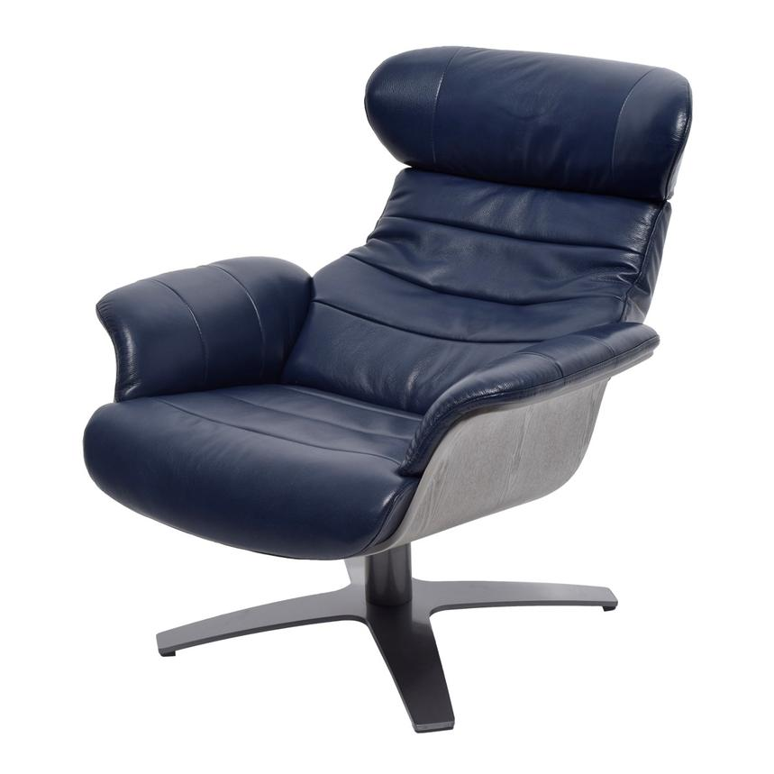 Enzo Dark Blue Leather Swivel Chair  alternate image, 3 of 11 images.