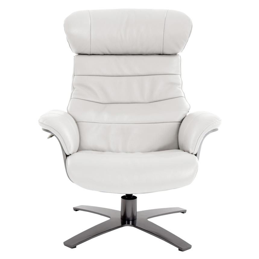 Enzo Pure White Leather Swivel Chair  alternate image, 4 of 10 images.