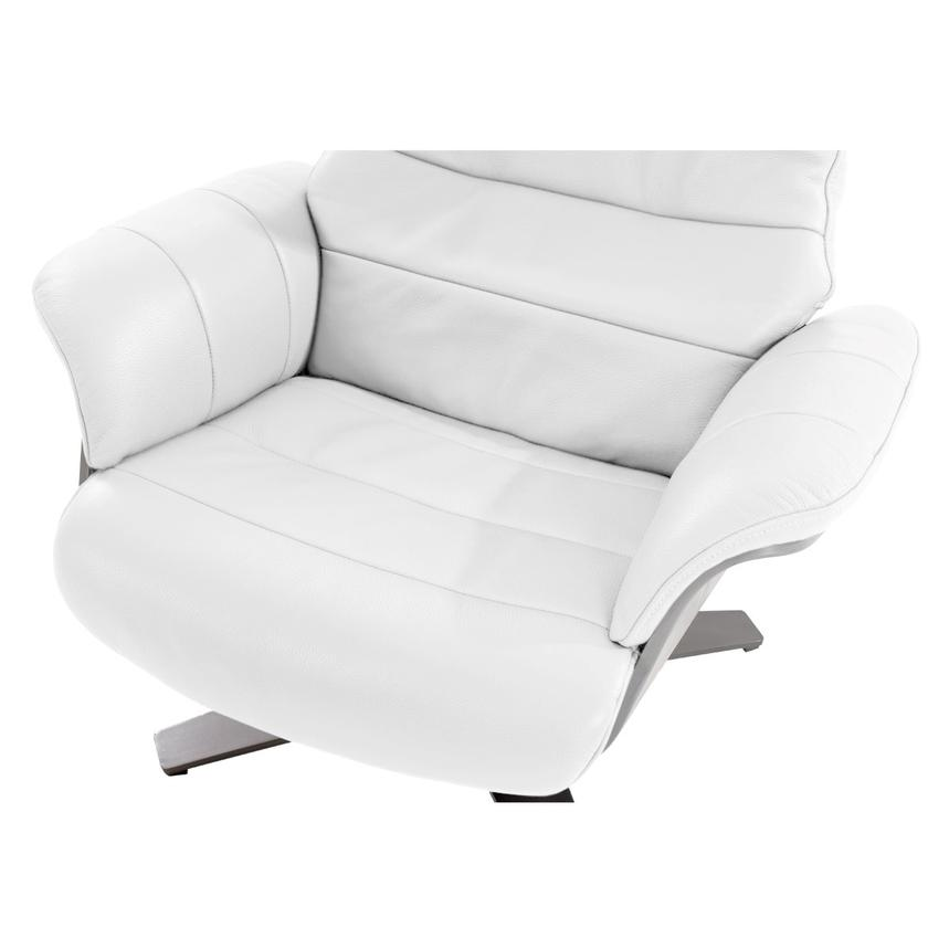 Enzo Pure White Leather Swivel Chair  alternate image, 9 of 12 images.