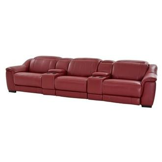 Davis Red Home Theater Leather Seating