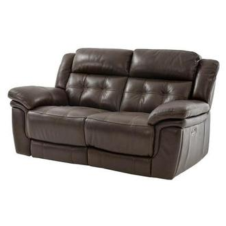 Stallion Brown Leather Power Reclining Loveseat