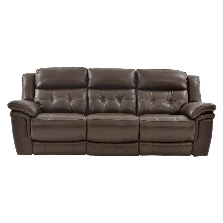Stallion Brown Leather Power Reclining Sofa  alternate image, 3 of 8 images.