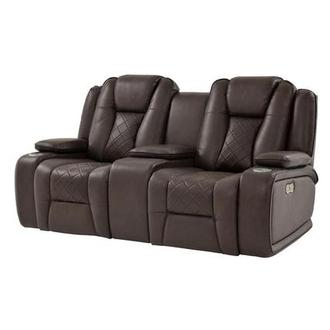 Chanel Brown Power Motion Sofa w/Console