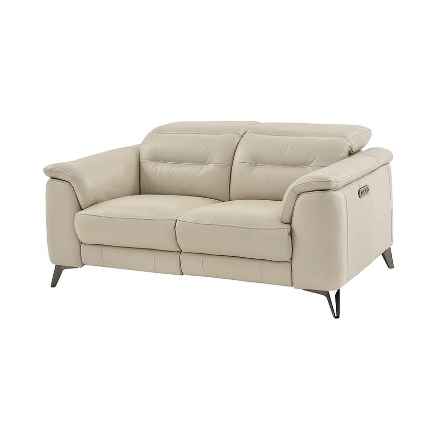 Anabel Cream Power Motion Leather Loveseat  main image, 1 of 11 images.