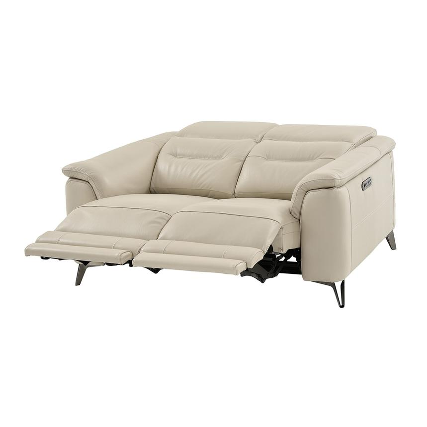 Anabel Cream Leather Power Reclining Loveseat  alternate image, 4 of 15 images.