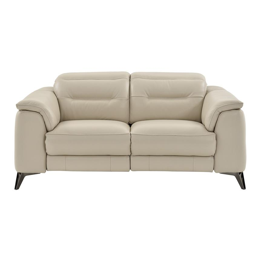 Anabel Cream Leather Power Reclining Loveseat  alternate image, 3 of 11 images.