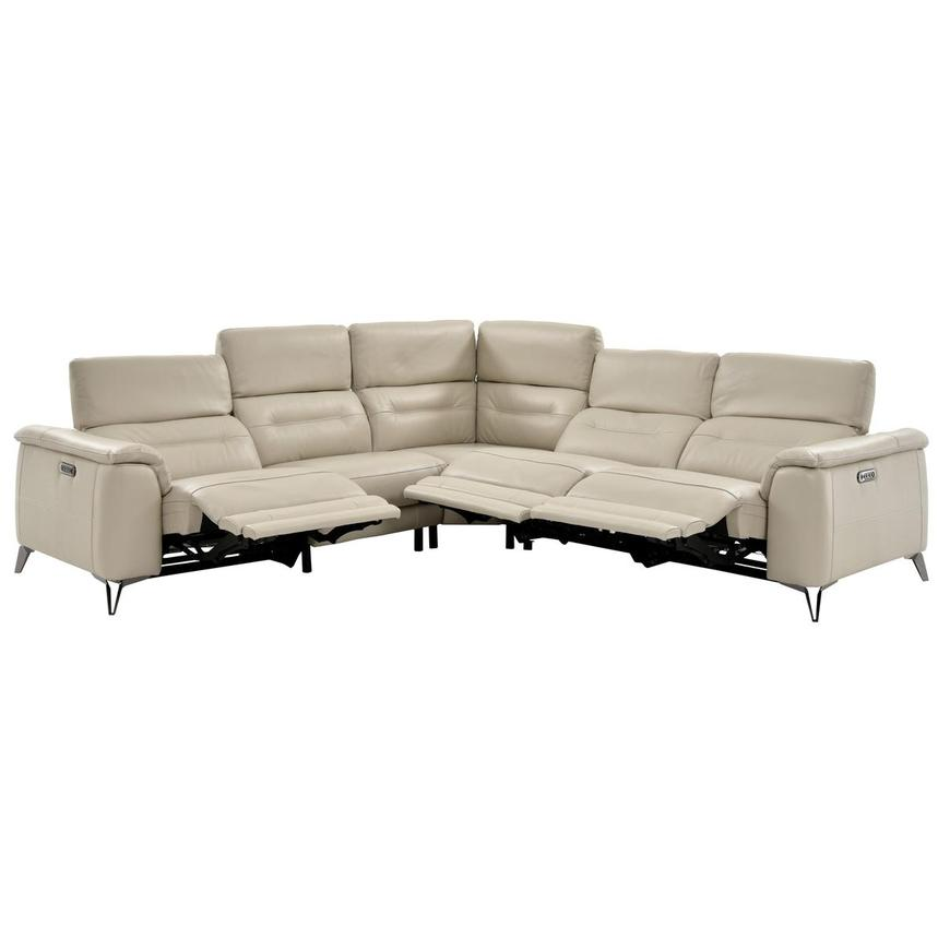 Anabel Cream Power Motion Leather Sofa w/Right & Left Recliners  alternate image, 3 of 12 images.