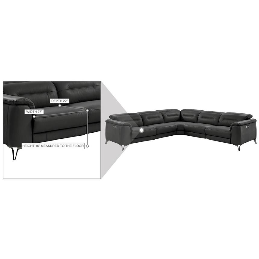Anabel Gray Leather Power Reclining Sectional  alternate image, 14 of 15 images.