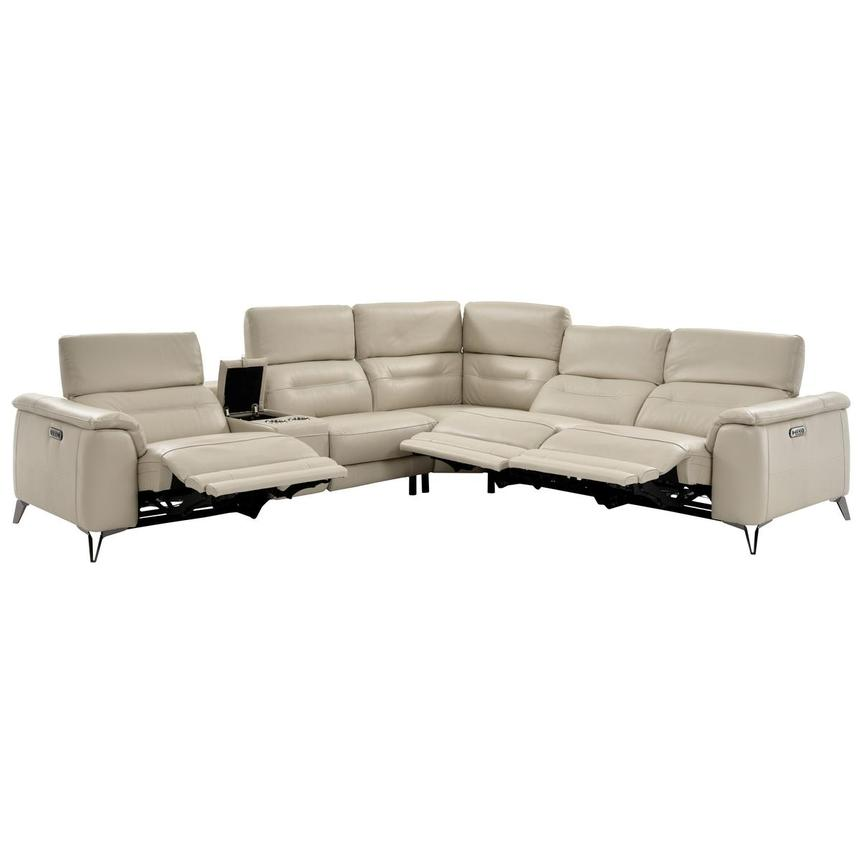 Anabel Cream Power Motion Leather Sofa w/Right & Left Recliners  alternate image, 3 of 14 images.