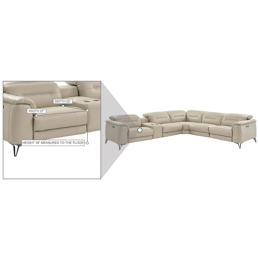 Anabel Cream Leather Power Reclining Sectional  alternate image, 18 of 19 images.
