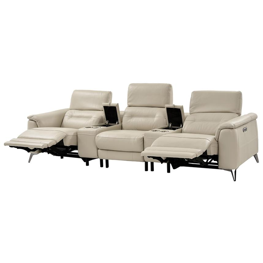 Anabel Cream Home Theater Leather Seating  alternate image, 4 of 13 images.