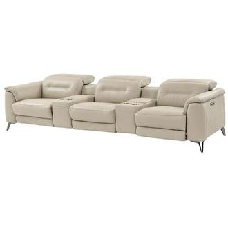 Anabel Cream Home Theater Leather Seating