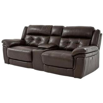 Stallion Brown Leather Power Reclining Sofa w/Console