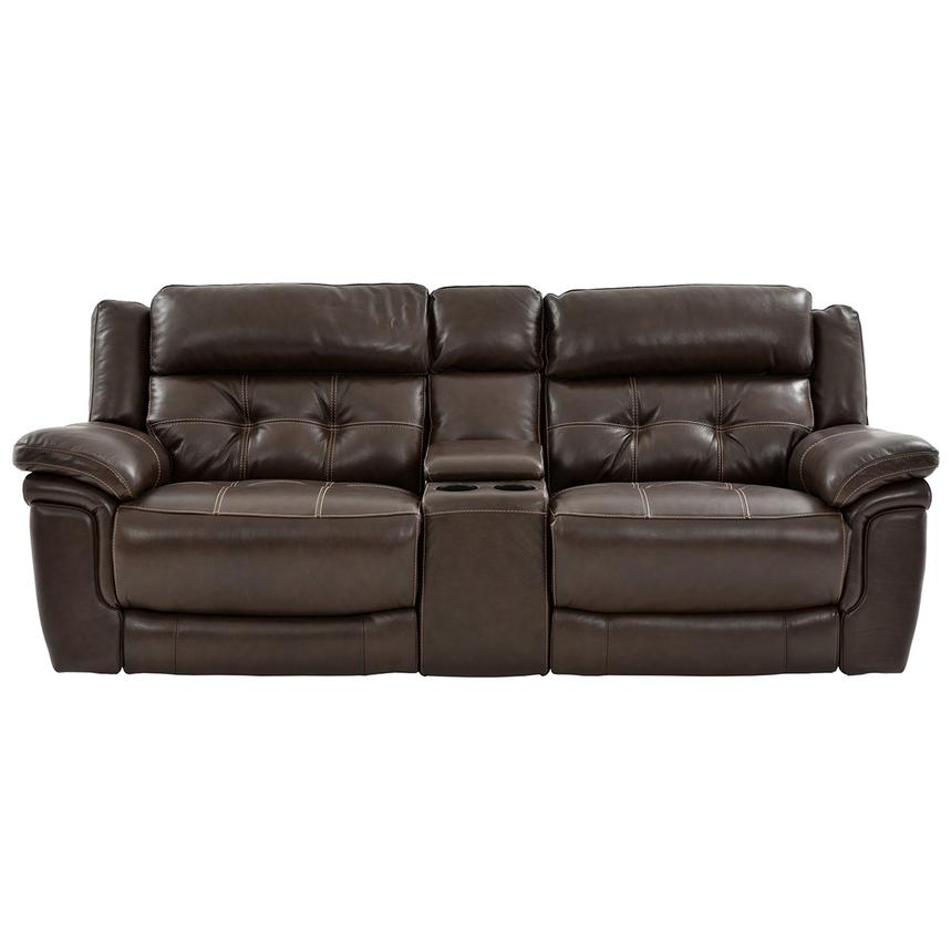 Stallion Brown Leather Power Reclining Sofa w/Console  alternate image, 3 of 9 images.