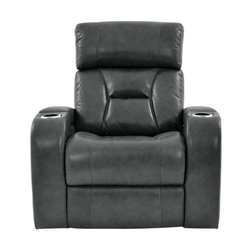 Gio Gray Power Motion Leather Recliner  alternate image, 3 of 11 images.