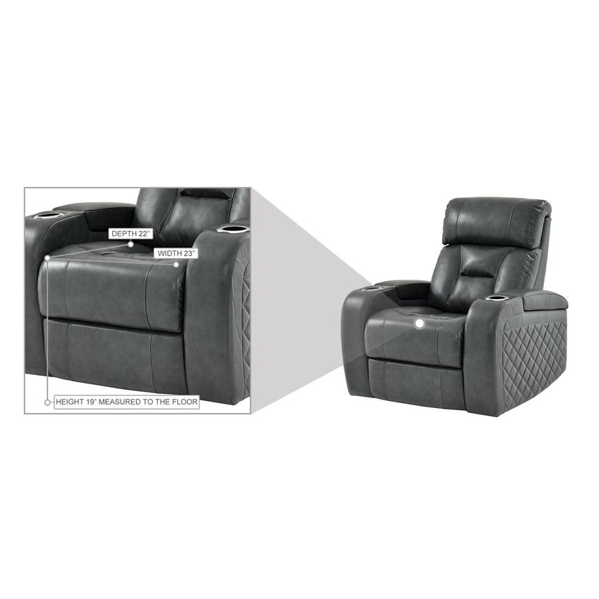 Gio Gray Leather Power Recliner  alternate image, 13 of 13 images.