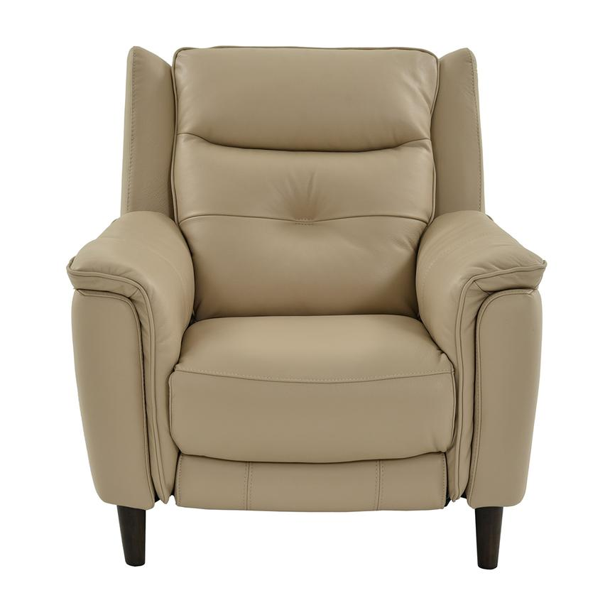 Yvette Beige Power Motion Leather Recliner El Dorado