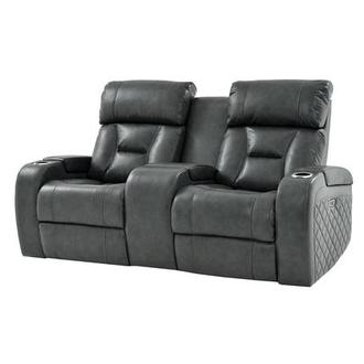 Gio Gray Power Motion Leather Sofa w/Console