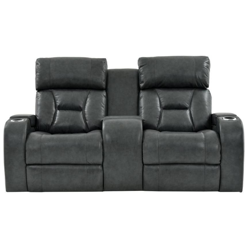 Gio Gray Power Motion Leather Sofa w/Console  alternate image, 3 of 12 images.