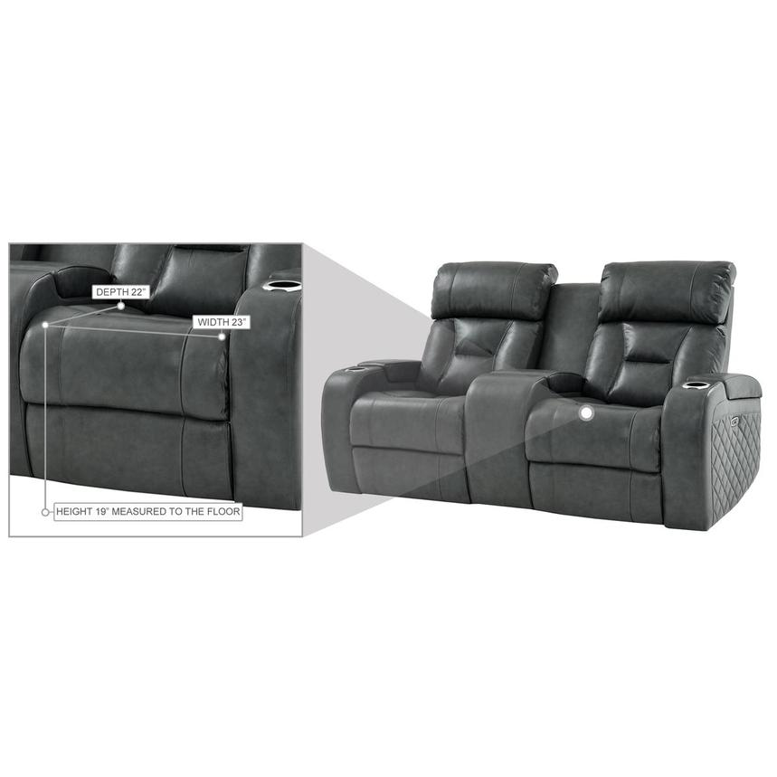 Gio Gray Leather Power Reclining Sofa w/Console  alternate image, 14 of 15 images.