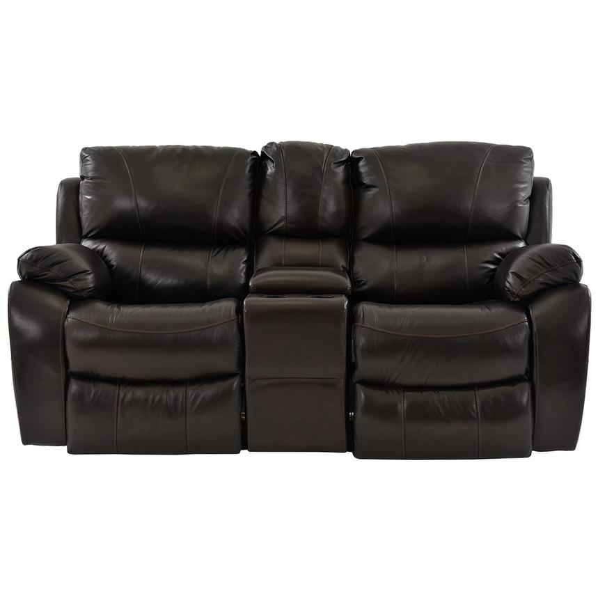 Mack Brown Recliner Leather Sofa w/Console  alternate image, 3 of 7 images.