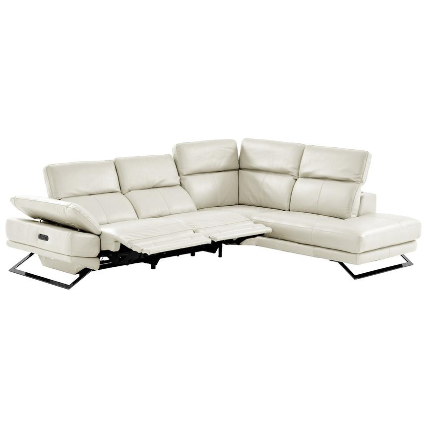 Toronto White Leather Power Reclining Sofa w/Right Chaise  alternate image, 2 of 11 images.