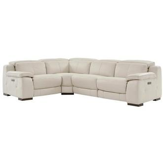 Gian Marco Cream Power Motion Leather Sofa w/Right & Left Recliners