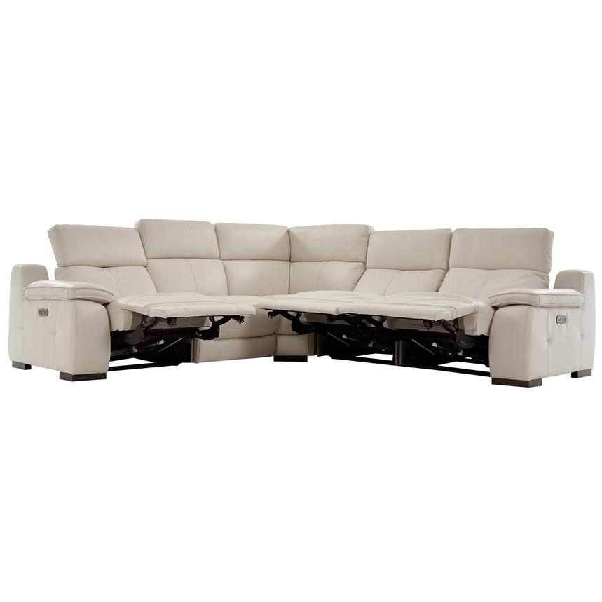 Gian Marco Cream Leather Power Reclining Sectional  alternate image, 3 of 8 images.