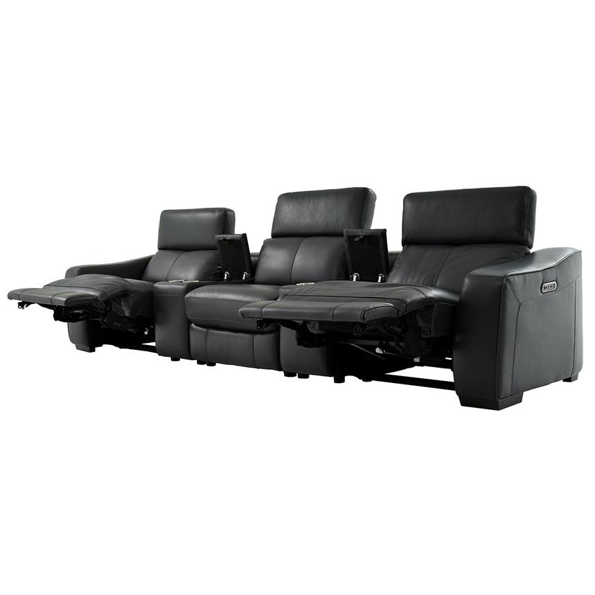 Jay Dark Gray Home Theater Leather Seating  alternate image, 3 of 8 images.