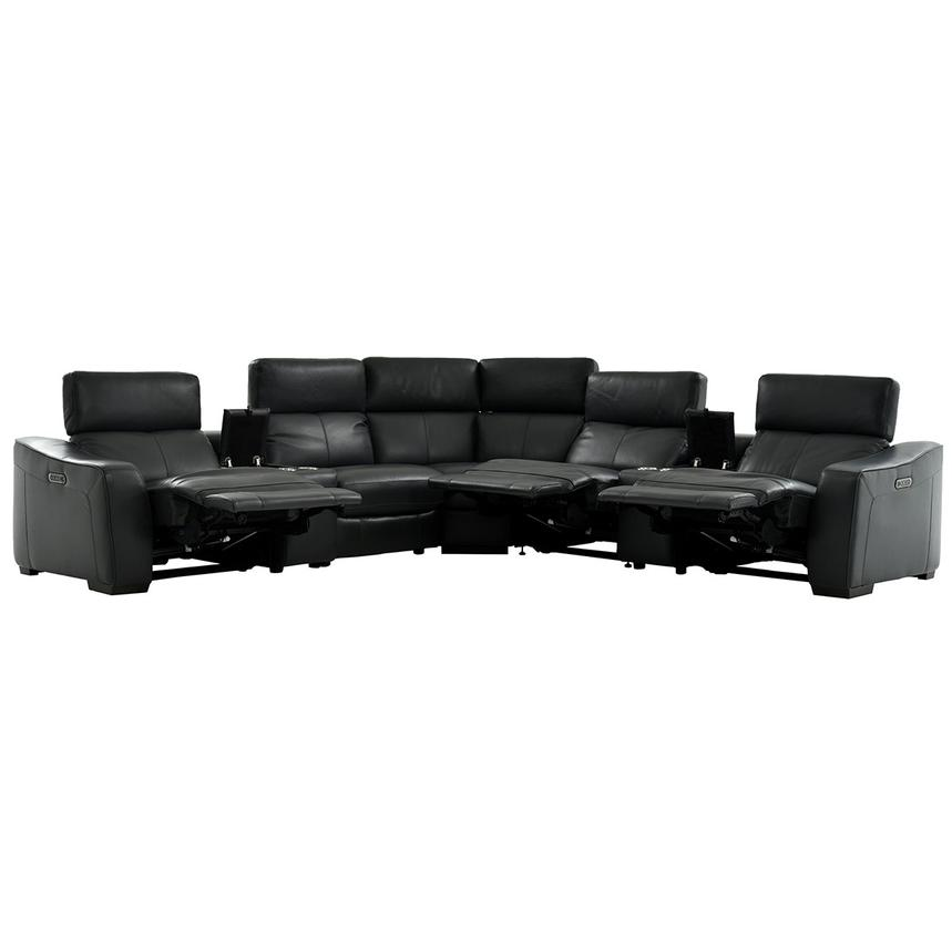 Jay Dark Gray Leather Power Reclining Sectional  alternate image, 3 of 8 images.