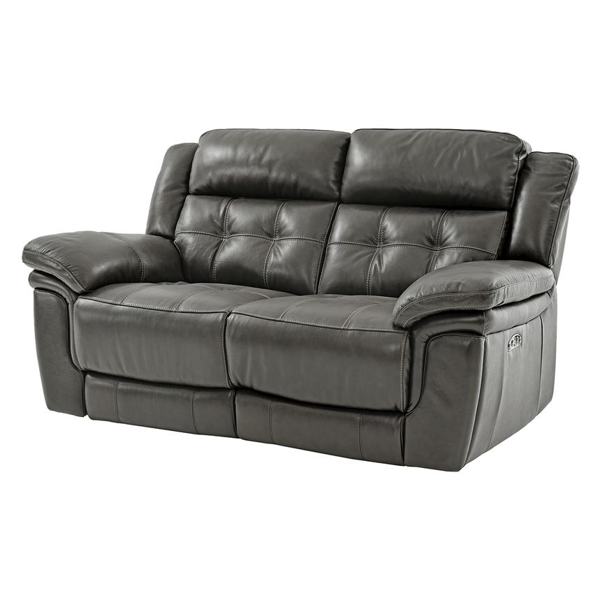 Stallion Gray Leather Power Reclining Loveseat  alternate image, 2 of 10 images.