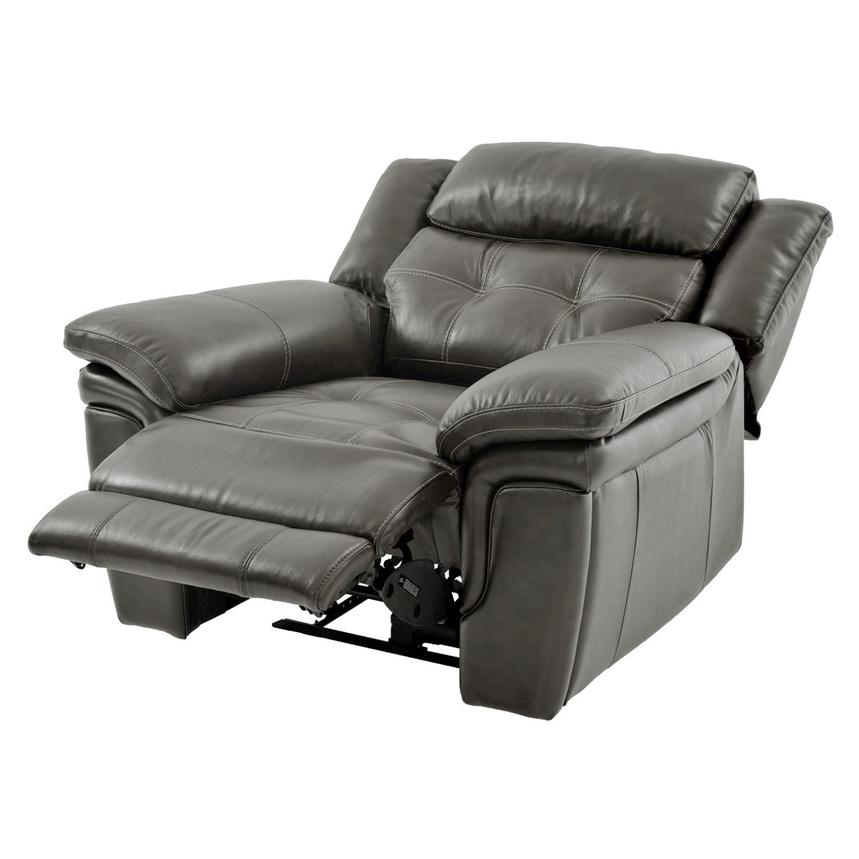 Stallion Gray Leather Power Recliner  alternate image, 3 of 8 images.