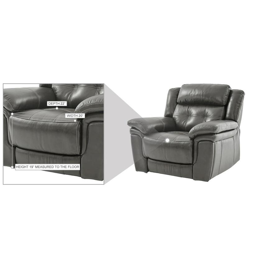 Stallion Gray Leather Power Recliner  alternate image, 9 of 9 images.